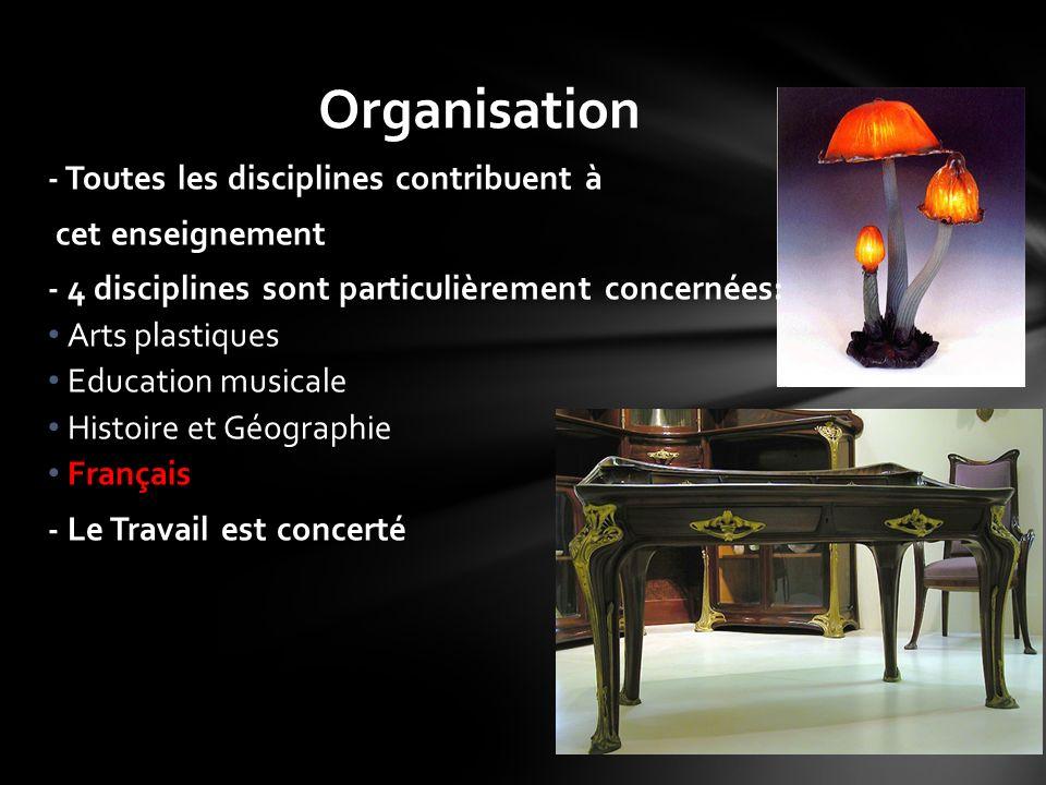 Organisation - Toutes les disciplines contribuent à cet enseignement