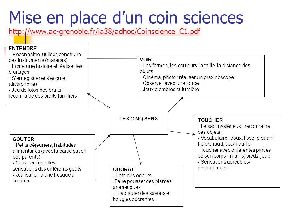 Mise en place d'un coin sciences http://www. ac-grenoble