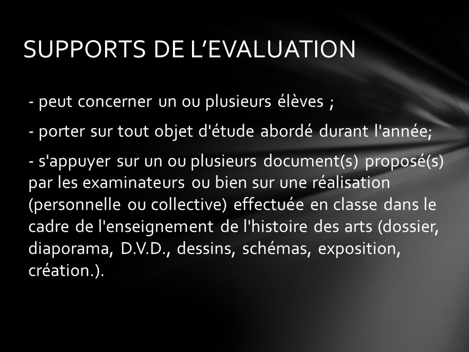 SUPPORTS DE L'EVALUATION