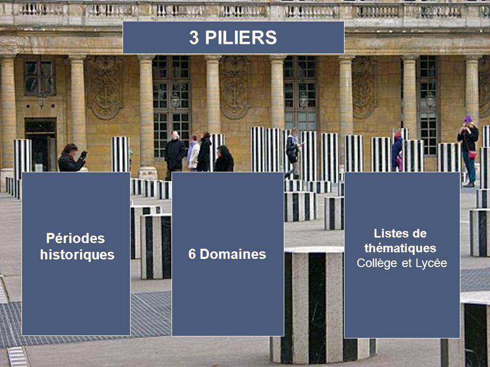 3 PILIERS Périodes historiques 6 Domaines Listes de thématiques