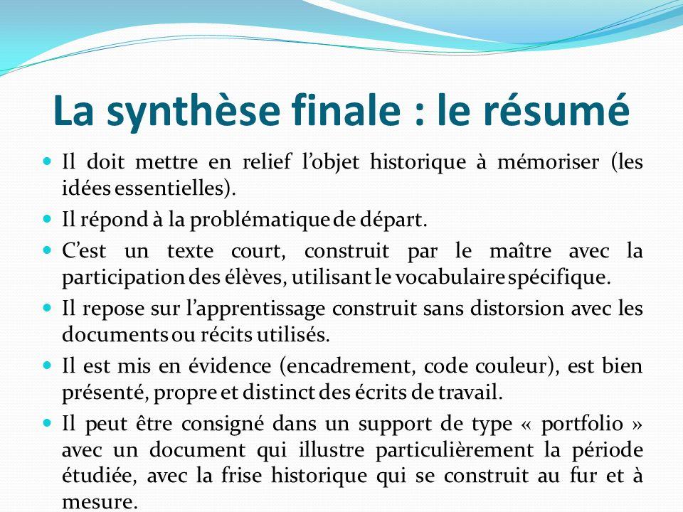 La synthèse finale : le résumé