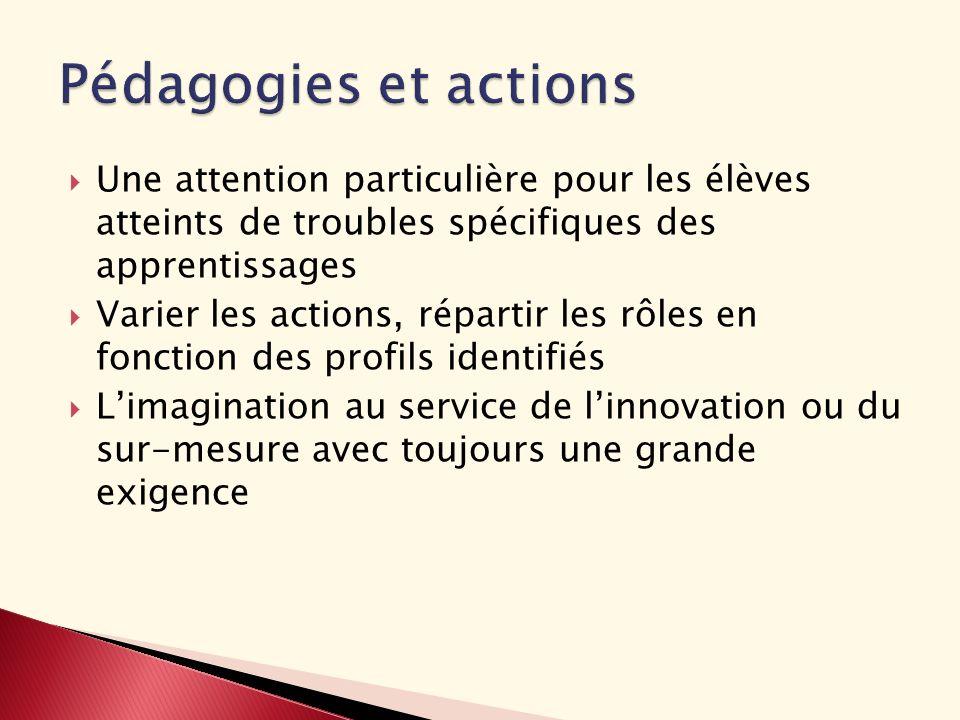 Pédagogies et actions Une attention particulière pour les élèves atteints de troubles spécifiques des apprentissages.