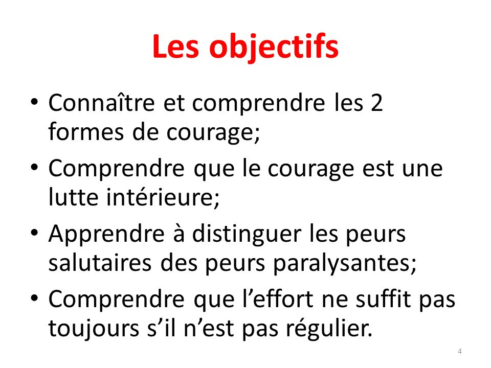 Les objectifs Connaître et comprendre les 2 formes de courage;