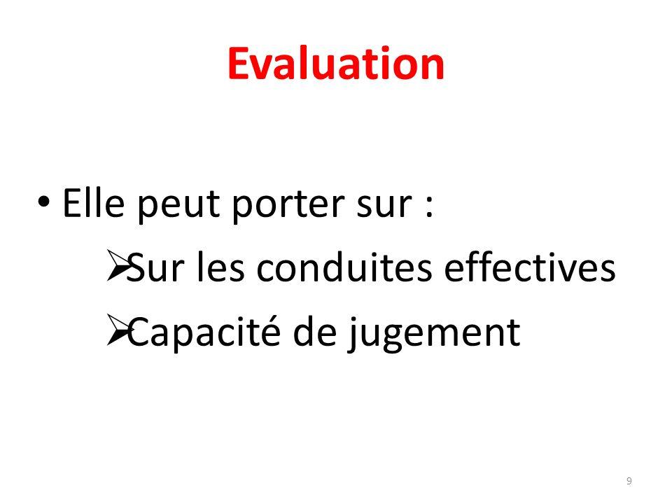 Evaluation Elle peut porter sur : Sur les conduites effectives