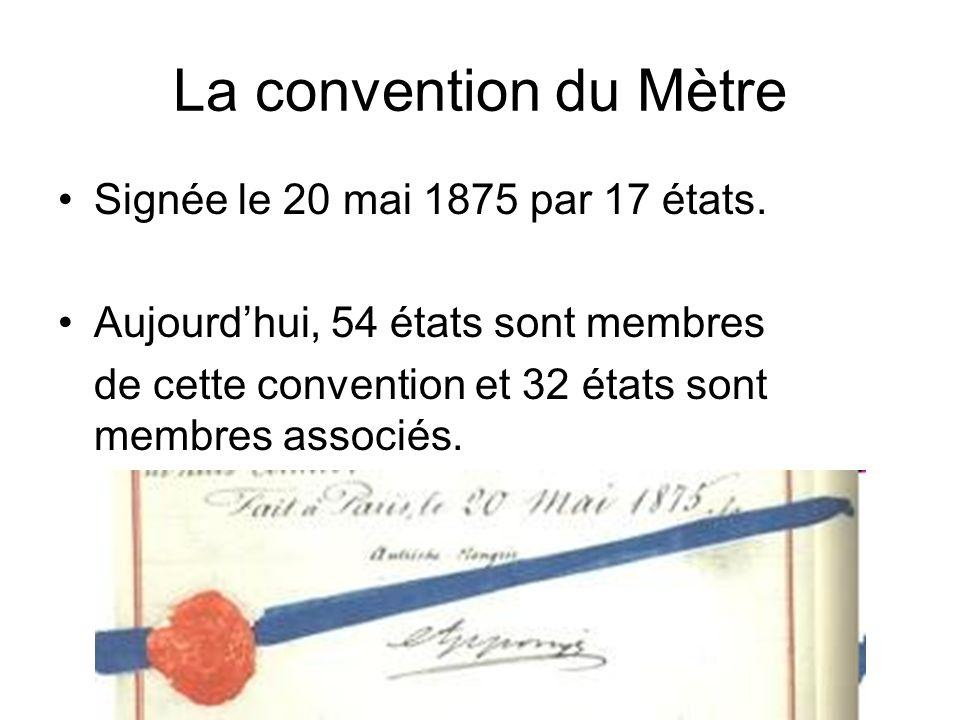 La convention du Mètre Signée le 20 mai 1875 par 17 états.
