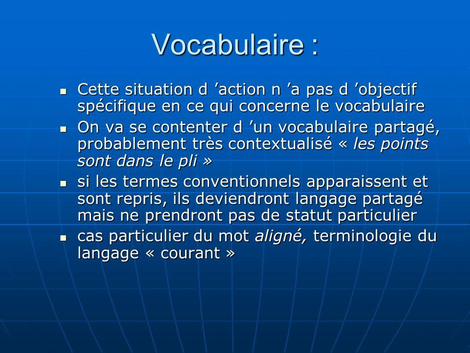 Vocabulaire : Cette situation d 'action n 'a pas d 'objectif spécifique en ce qui concerne le vocabulaire.