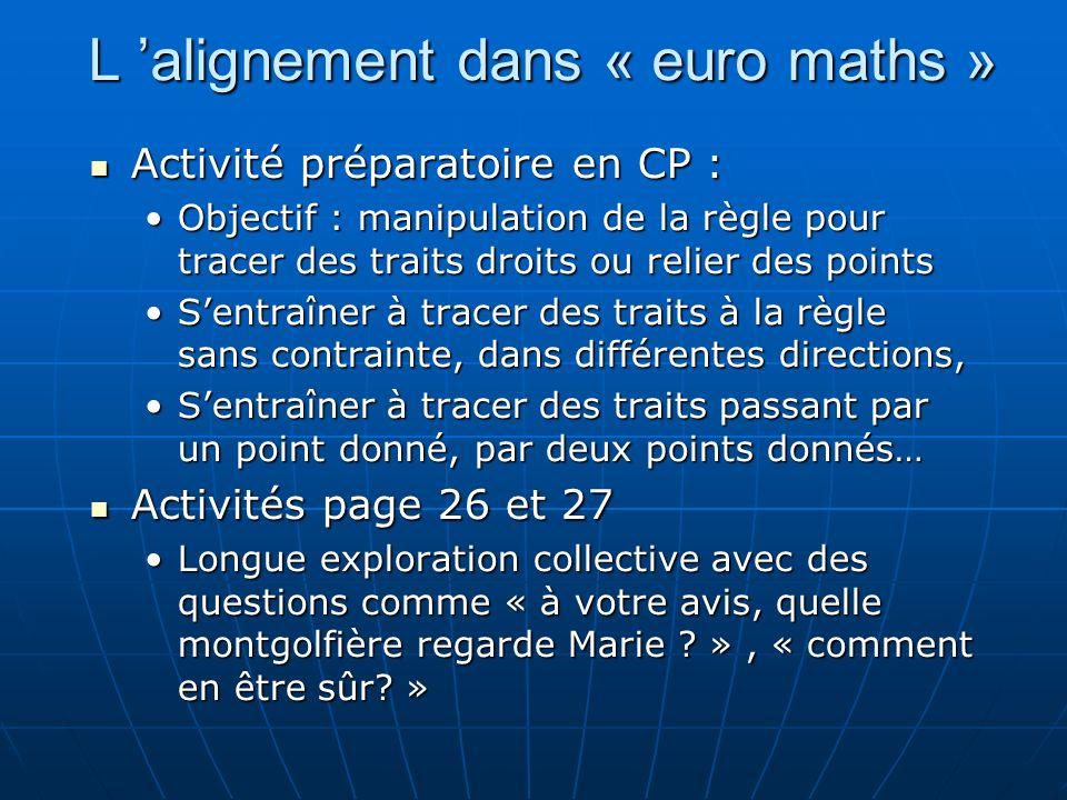 L 'alignement dans « euro maths »