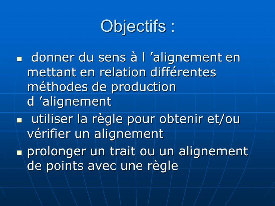 Objectifs : donner du sens à l 'alignement en mettant en relation différentes méthodes de production d 'alignement.