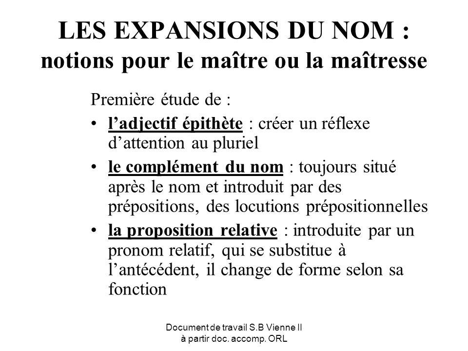 LES EXPANSIONS DU NOM : notions pour le maître ou la maîtresse