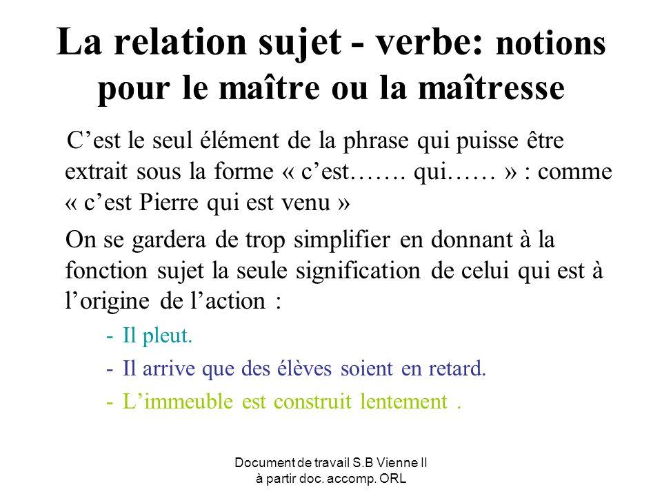 La relation sujet - verbe: notions pour le maître ou la maîtresse