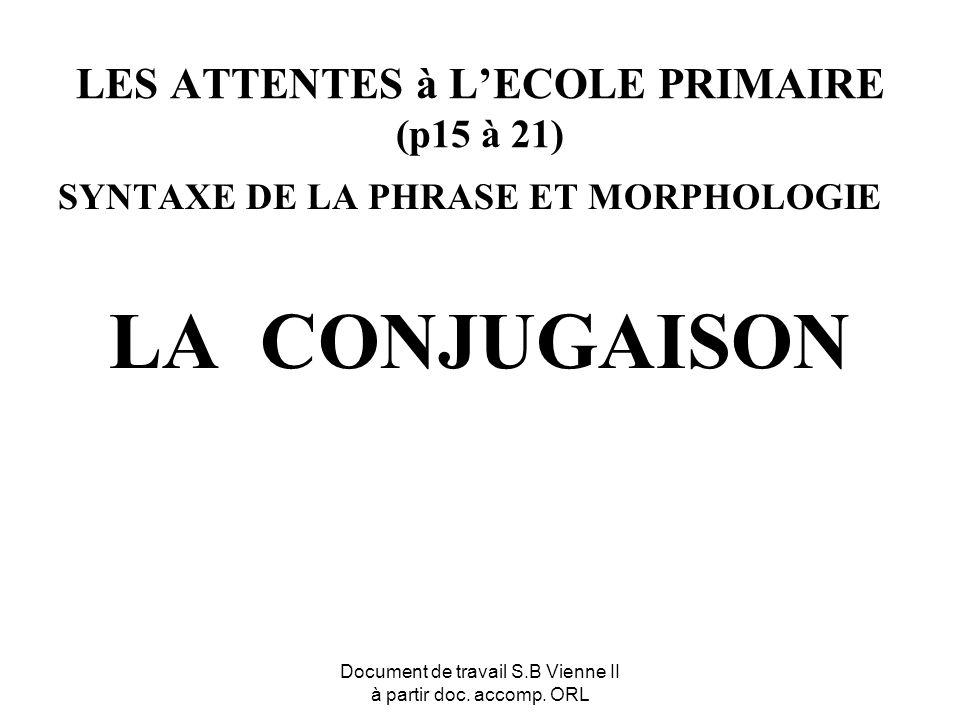 LES ATTENTES à L'ECOLE PRIMAIRE (p15 à 21)