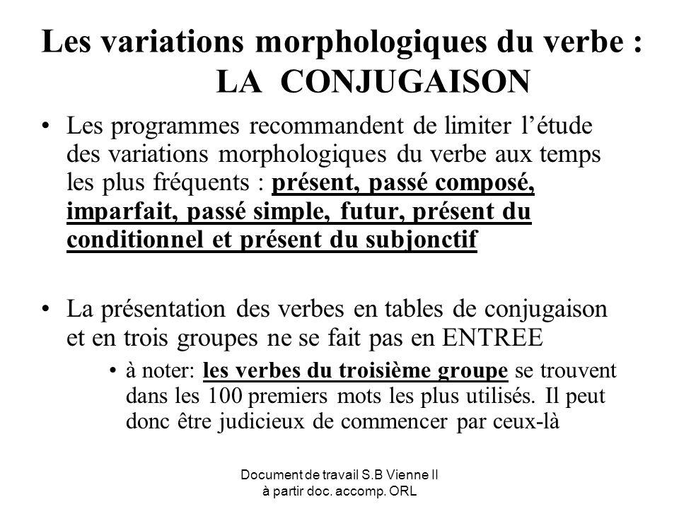 Les variations morphologiques du verbe : LA CONJUGAISON