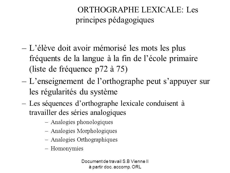 ORTHOGRAPHE LEXICALE: Les principes pédagogiques