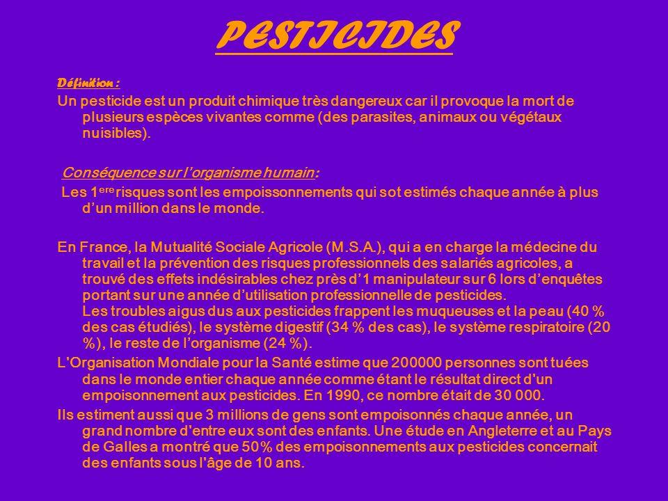 PESTICIDES Définition :