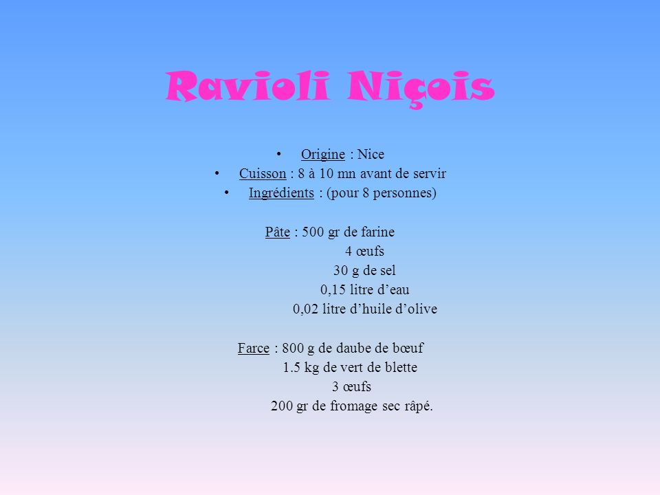 Ravioli Niçois Origine : Nice Cuisson : 8 à 10 mn avant de servir