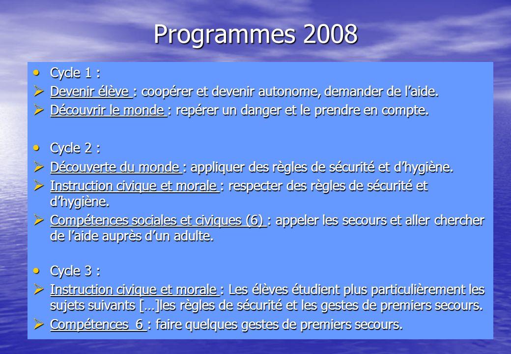 Programmes 2008 Cycle 1 : Devenir élève : coopérer et devenir autonome, demander de l'aide.