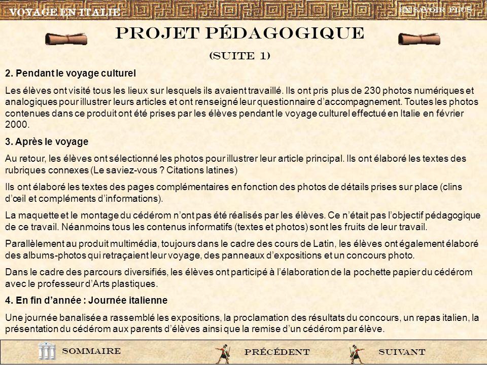 Projet pÉdagogique (Suite 1) VOYAGE EN ITALIE