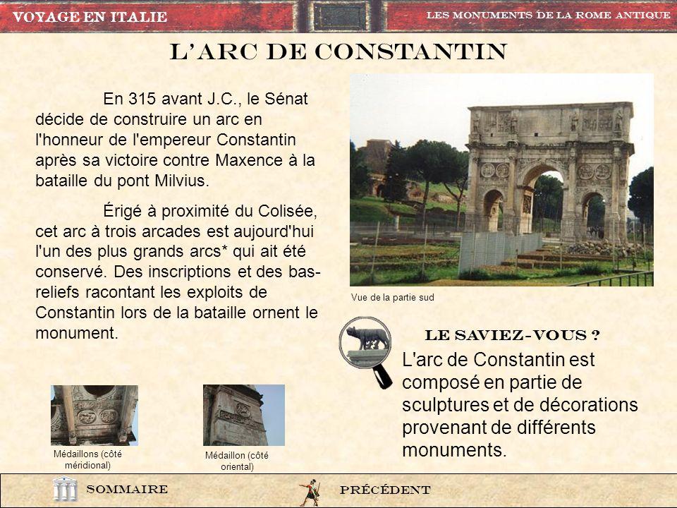 VOYAGE EN ITALIE Les Monuments de la rome Antique. L'Arc de constantin.