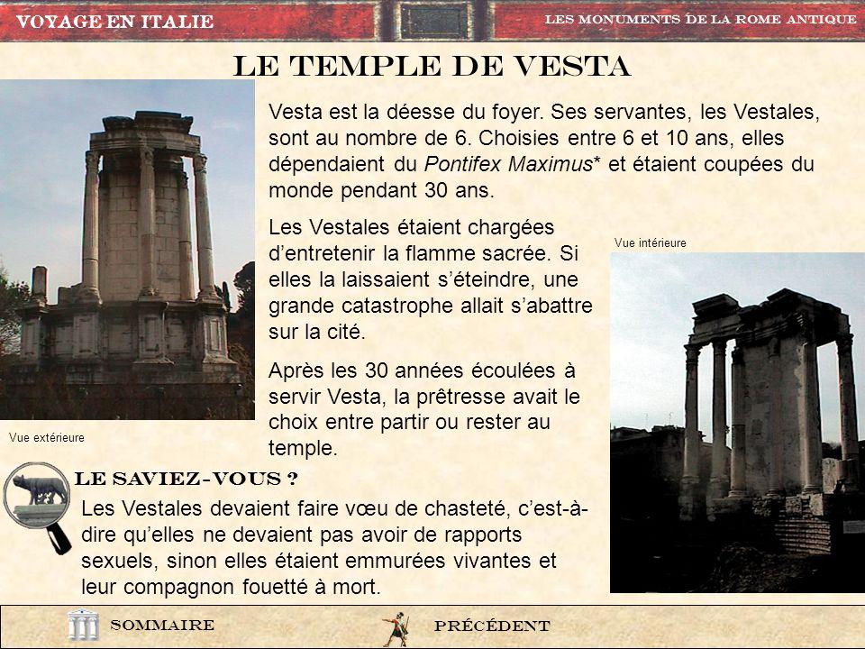VOYAGE EN ITALIE Les Monuments de la rome Antique. Le Temple de vesta.