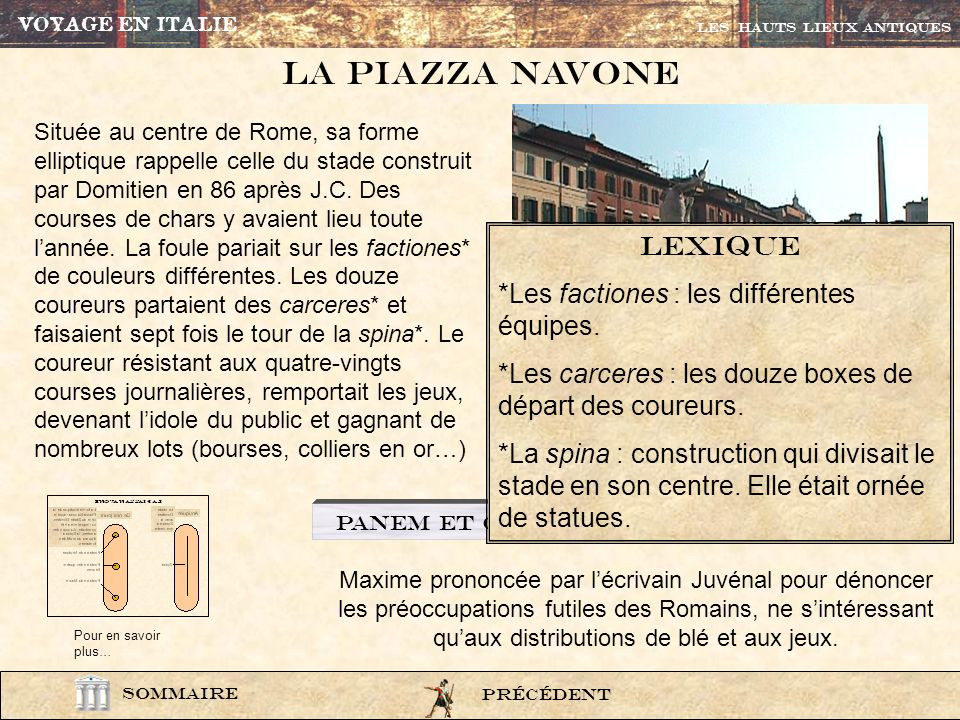 La Piazza navone lexique *Les factiones : les différentes équipes.