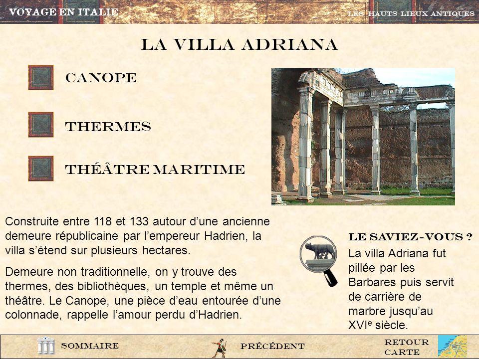 La Villa adriana CANOPE thermes théâtre maritime