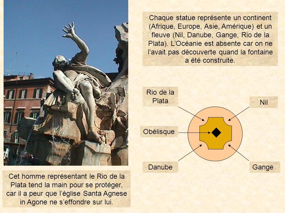 Chaque statue représente un continent (Afrique, Europe, Asie, Amérique) et un fleuve (Nil, Danube, Gange, Rio de la Plata). L'Océanie est absente car on ne l'avait pas découverte quand la fontaine a été construite.