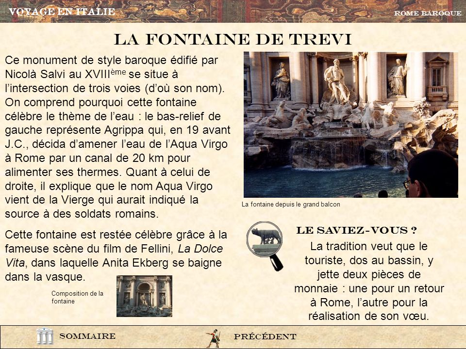 VOYAGE EN ITALIEROME BAROQUE. La Fontaine de trevi.