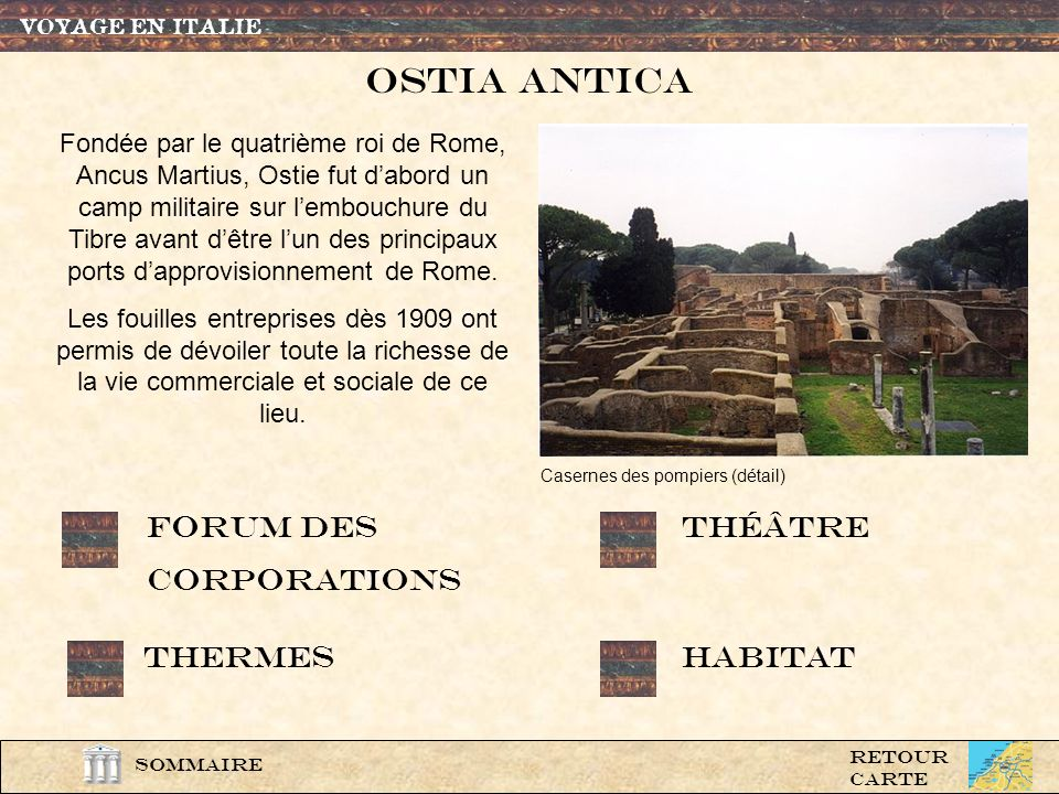 OSTIa antica Forum des corporations théâtre Thermes Habitat