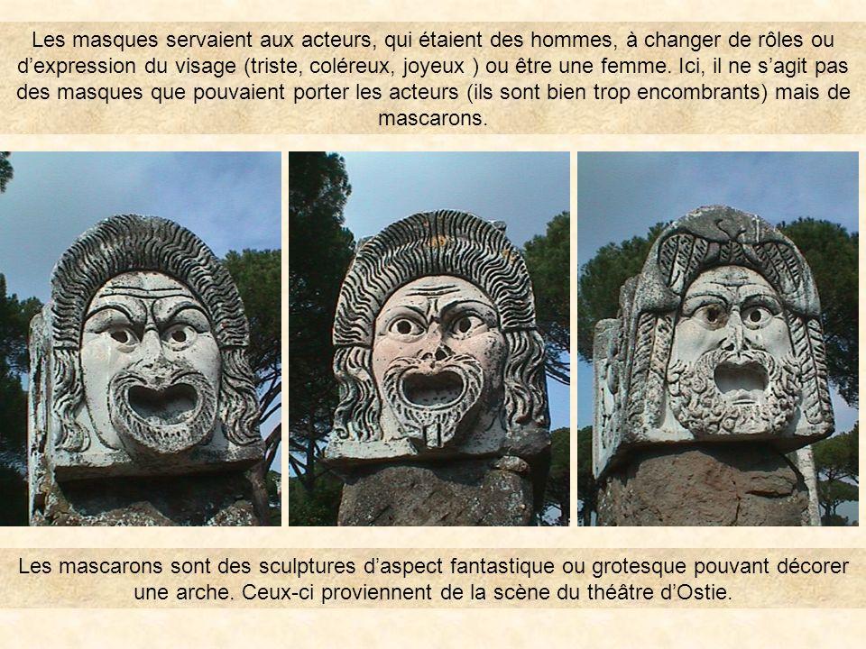 Les masques servaient aux acteurs, qui étaient des hommes, à changer de rôles ou d'expression du visage (triste, coléreux, joyeux ) ou être une femme. Ici, il ne s'agit pas des masques que pouvaient porter les acteurs (ils sont bien trop encombrants) mais de mascarons.