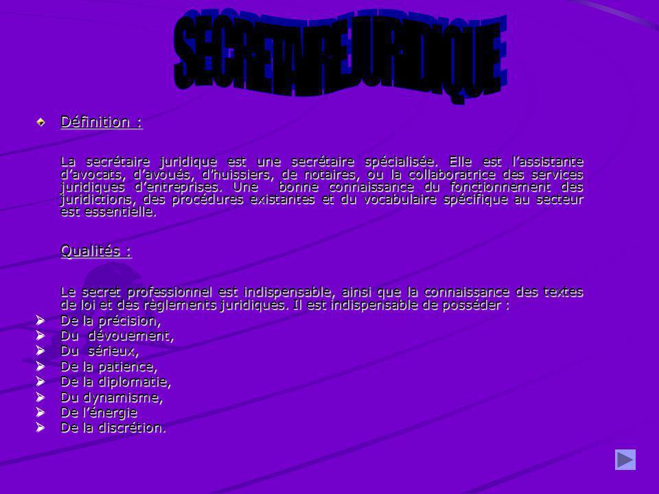 SECRETAIRE JURIDIQUE Qualités :