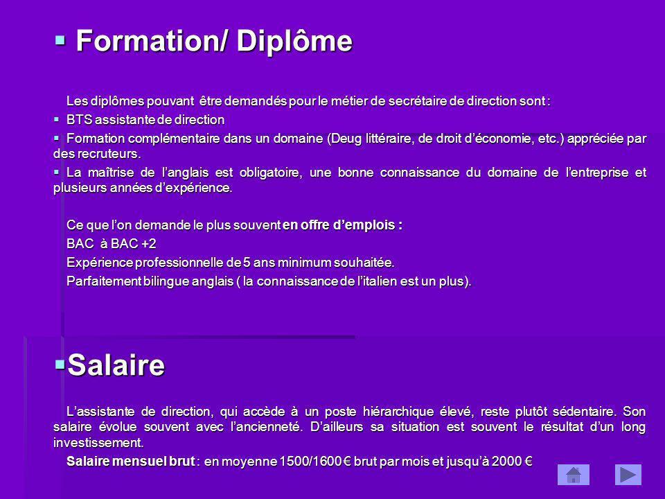 Formation/ Diplôme Salaire