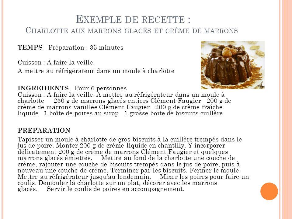 Exemple de recette : Charlotte aux marrons glacés et crème de marrons