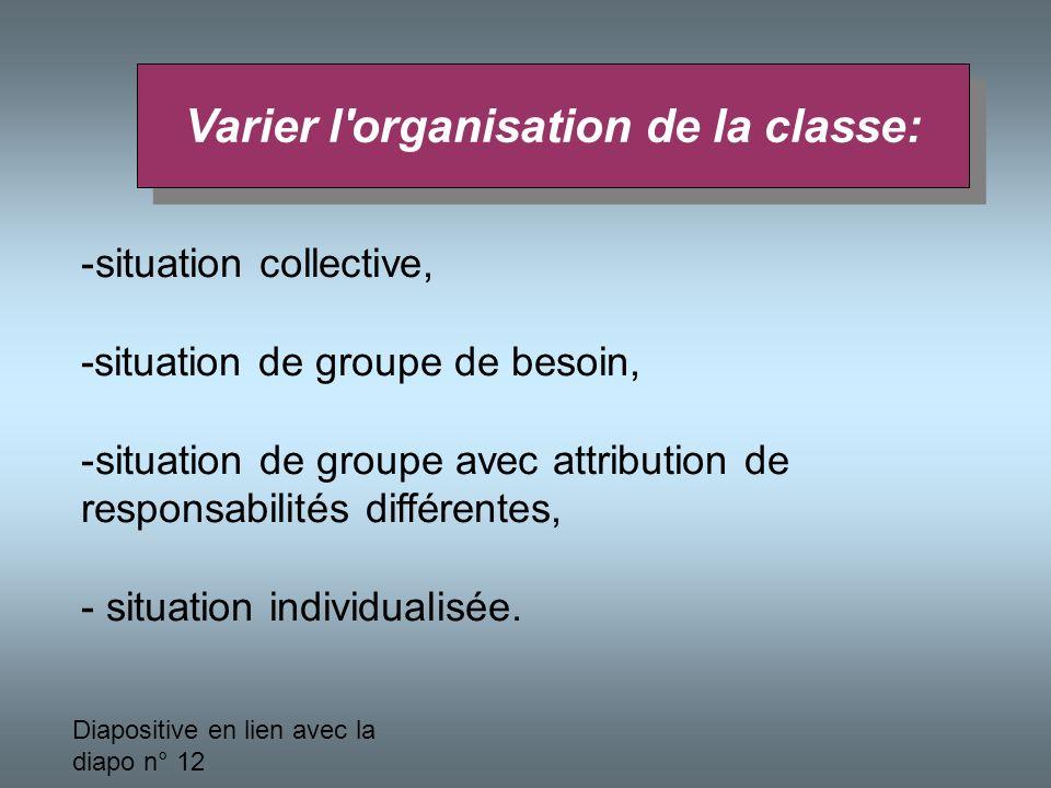 Varier l organisation de la classe: