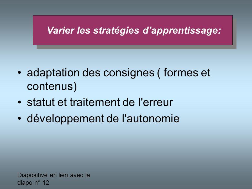 Varier les stratégies d'apprentissage: