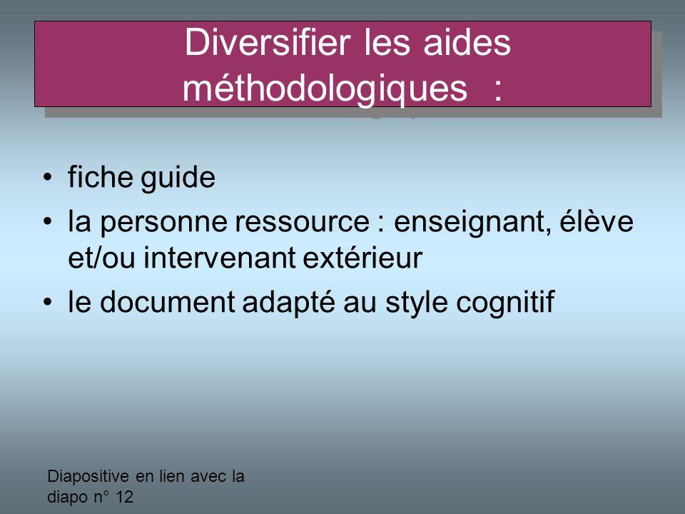 Diversifier les aides méthodologiques :