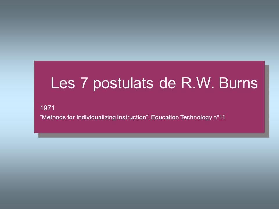Les 7 postulats de R.W. Burns