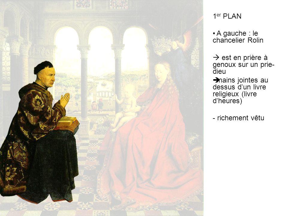 1er PLAN A gauche : le chancelier Rolin.  est en prière à genoux sur un prie-dieu. mains jointes au dessus d'un livre religieux (livre d'heures)