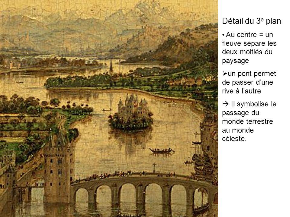 Détail du 3e plan Au centre = un fleuve sépare les deux moitiés du paysage. un pont permet de passer d'une rive à l'autre.