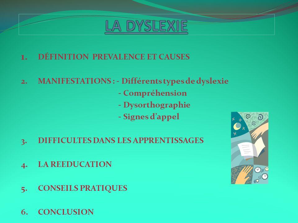 LA DYSLEXIE 1. DÉFINITION PREVALENCE ET CAUSES
