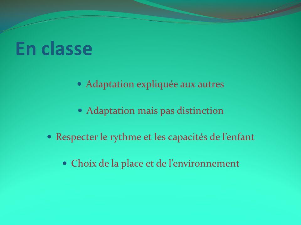 En classe Adaptation expliquée aux autres