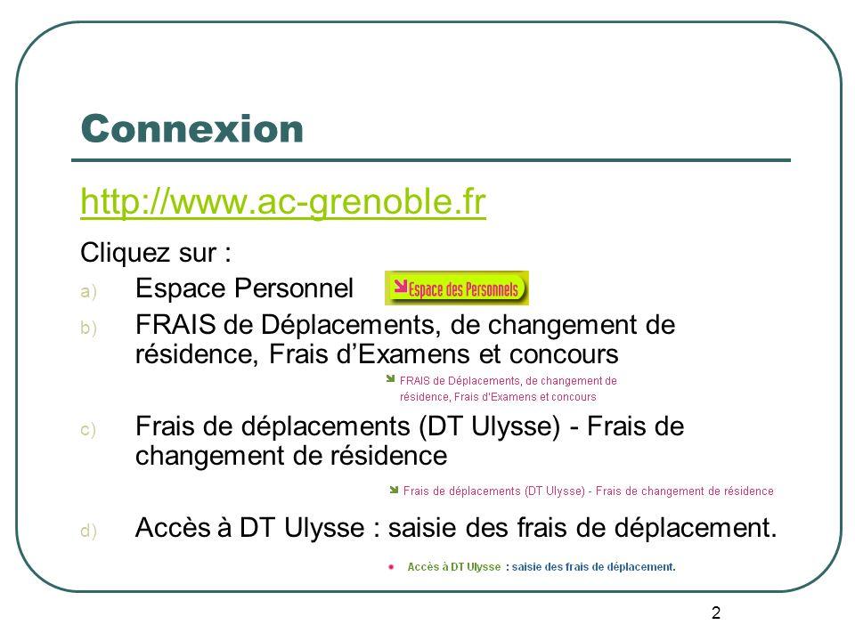 Connexion http://www.ac-grenoble.fr Cliquez sur : Espace Personnel