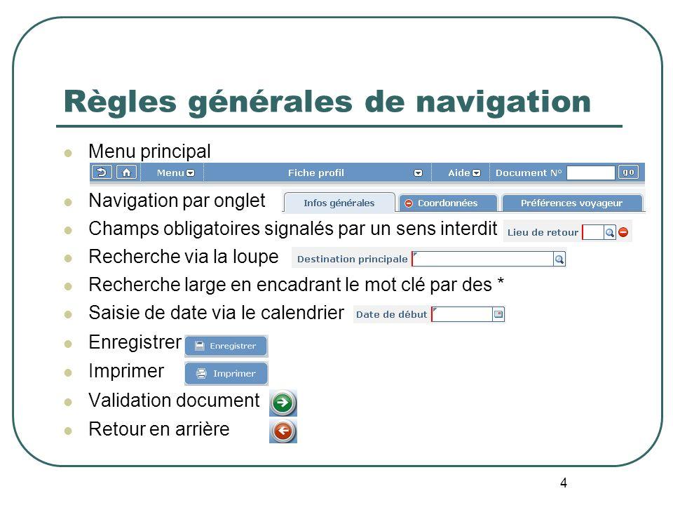 Règles générales de navigation