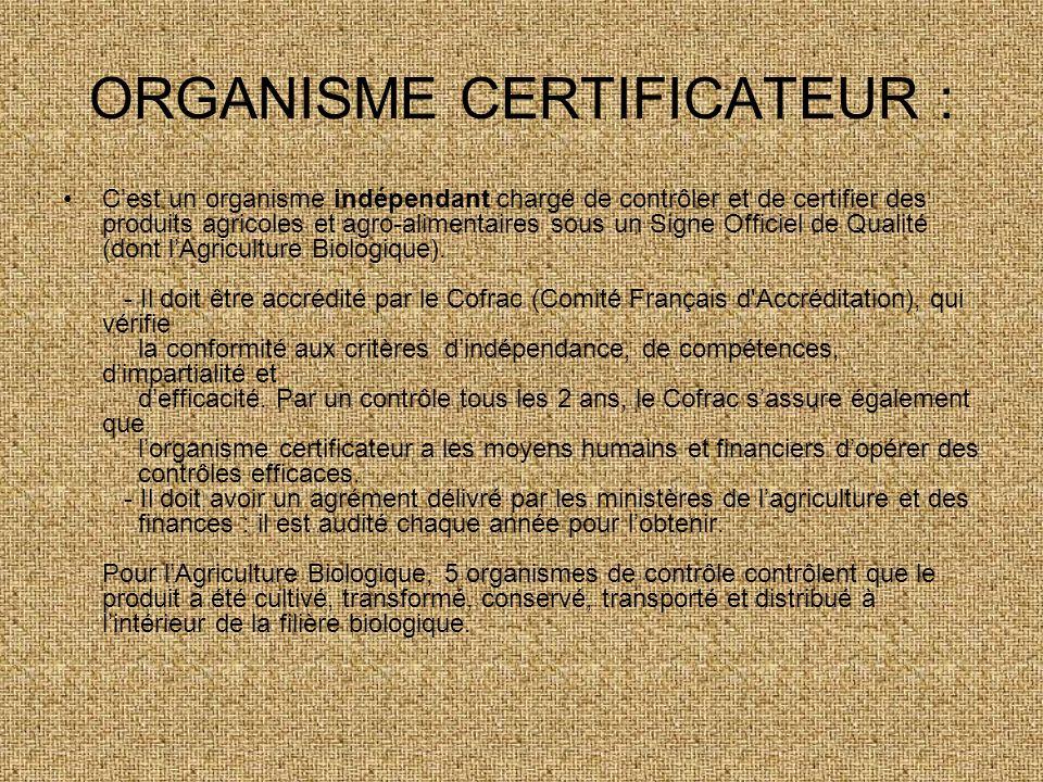 ORGANISME CERTIFICATEUR :
