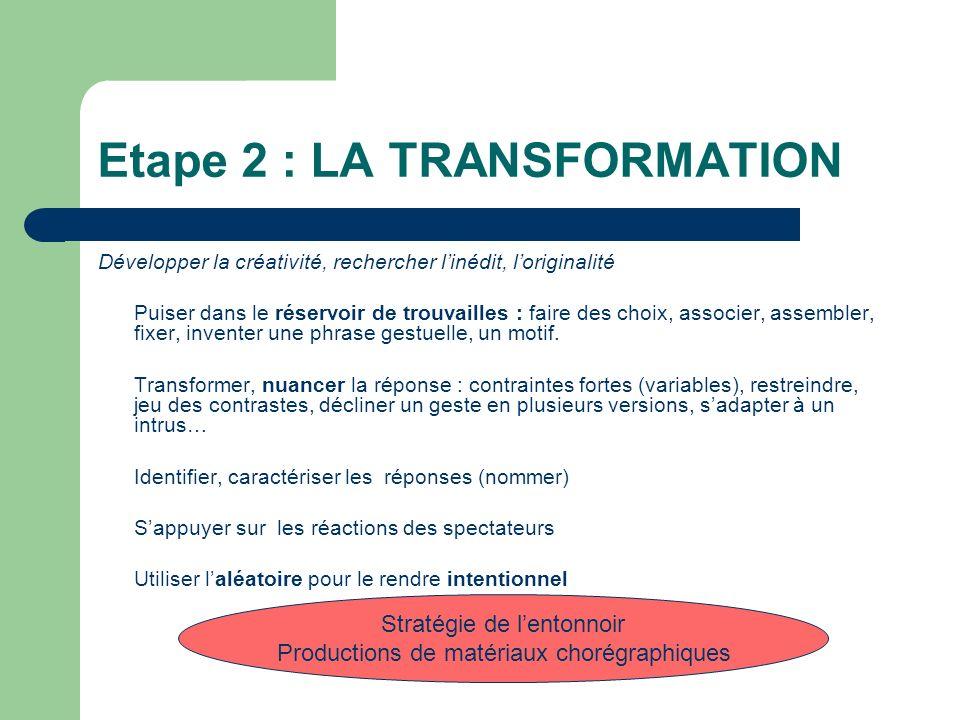 Etape 2 : LA TRANSFORMATION