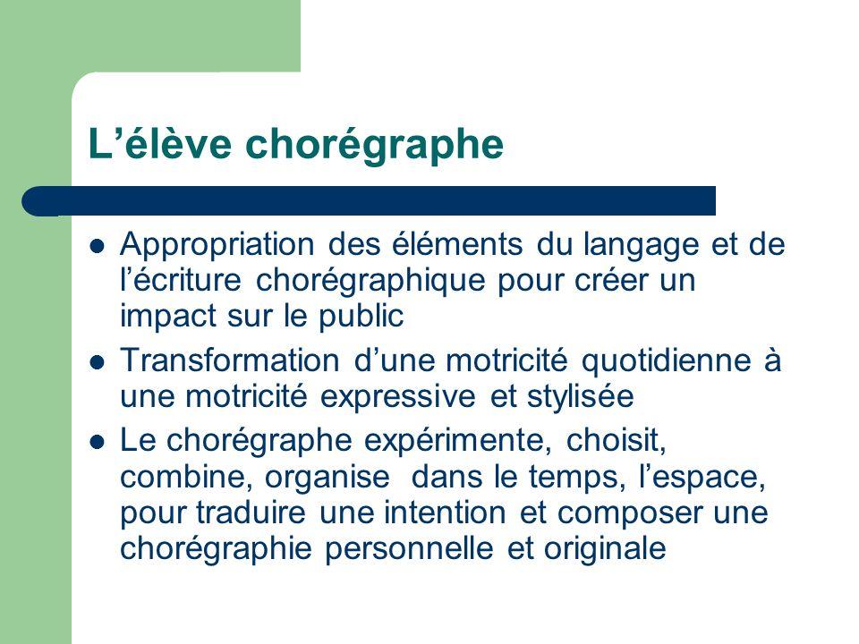 L'élève chorégraphe Appropriation des éléments du langage et de l'écriture chorégraphique pour créer un impact sur le public