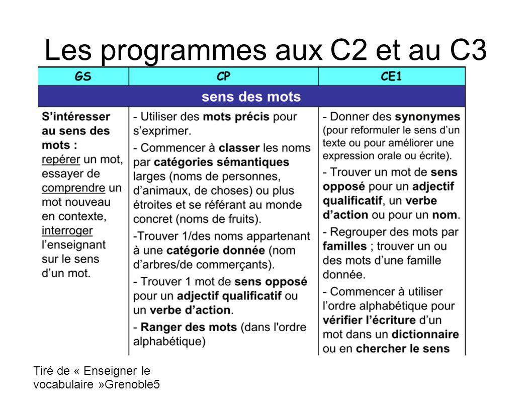 Les programmes aux C2 et au C3