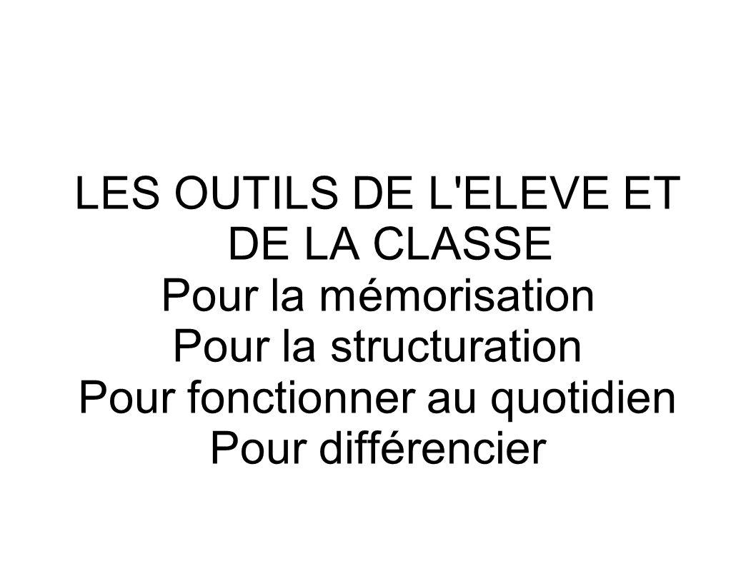 LES OUTILS DE L ELEVE ET DE LA CLASSE Pour la mémorisation