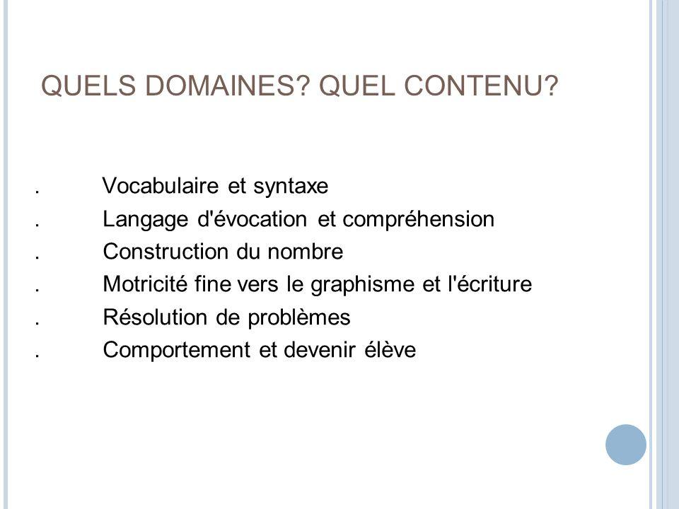 QUELS DOMAINES QUEL CONTENU