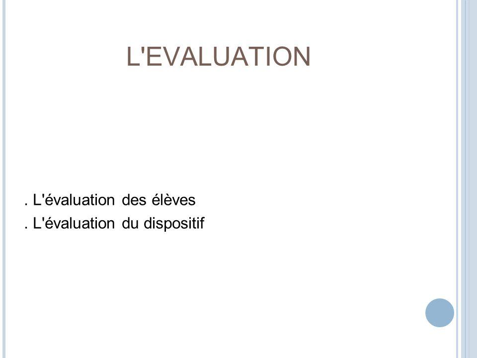 . L évaluation des élèves . L évaluation du dispositif