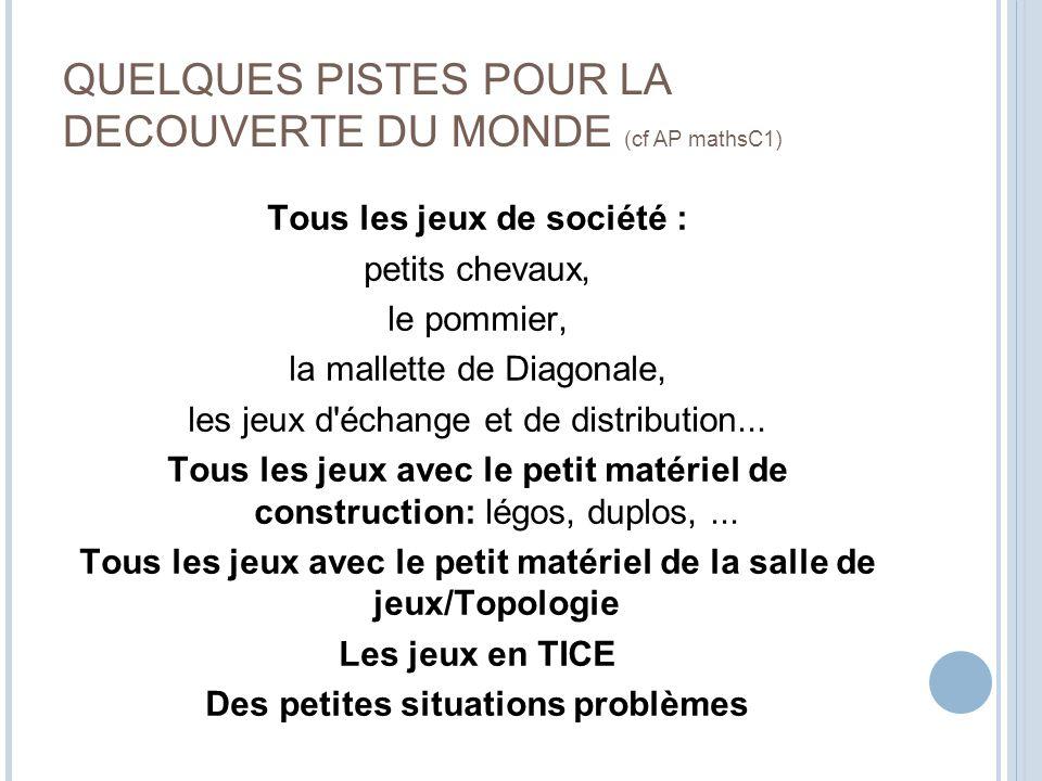 QUELQUES PISTES POUR LA DECOUVERTE DU MONDE (cf AP mathsC1)
